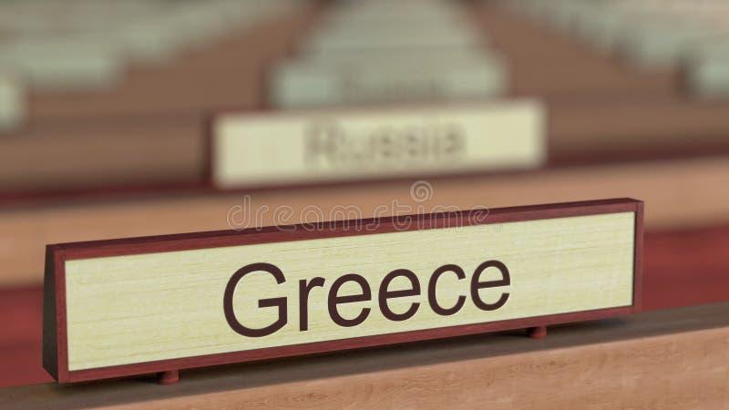 De naamteken van Griekenland onder de verschillende plaques van landen bij internationale organisatie het 3d teruggeven royalty-vrije illustratie