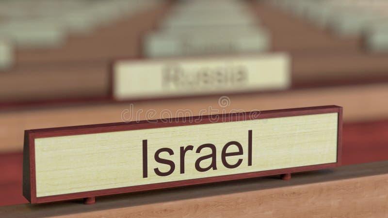 De naamteken van Israël onder de verschillende plaques van landen bij internationale organisatie het 3d teruggeven stock illustratie