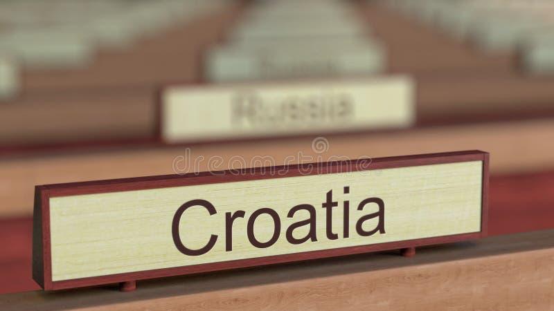 De naamteken van Kroatië onder de verschillende plaques van landen bij internationale organisatie het 3d teruggeven royalty-vrije illustratie