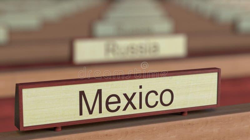 De naamteken van Mexico onder de verschillende plaques van landen bij internationale organisatie het 3d teruggeven royalty-vrije illustratie