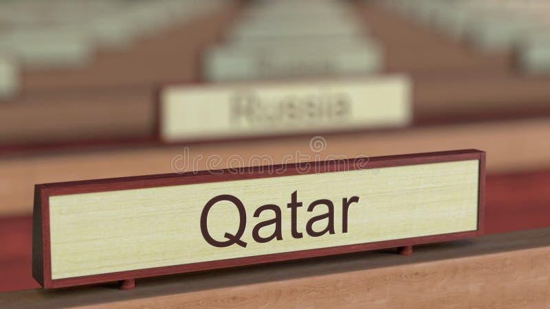De naamteken van Qatar onder de verschillende plaques van landen bij internationale organisatie het 3d teruggeven vector illustratie