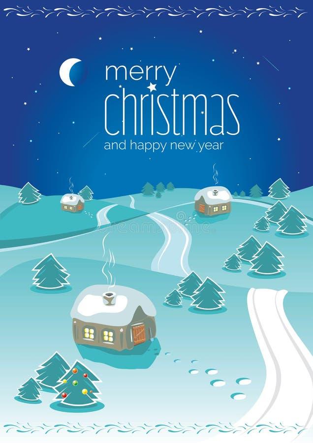 De nacht landelijk noords landschap van de Kerstmiswinter vóór vooravond vector illustratie