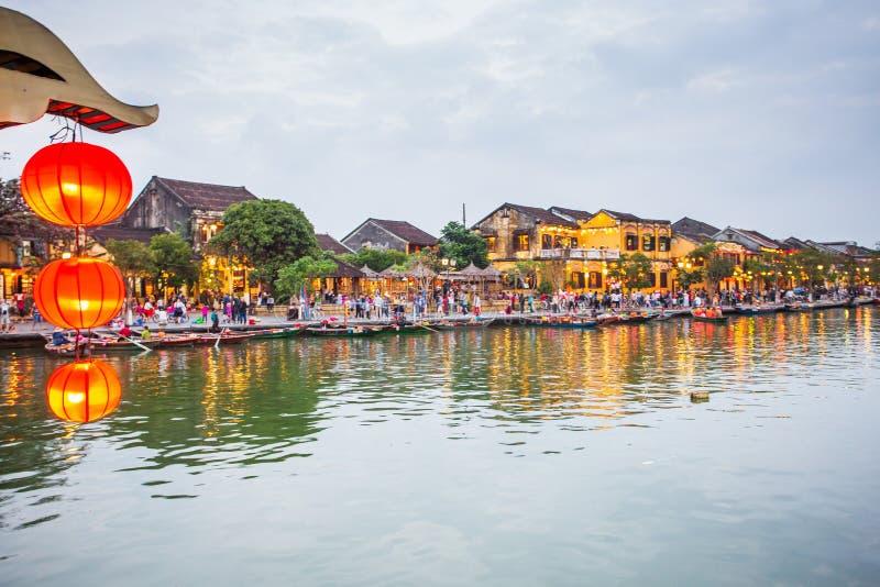 De nacht schoot Oude Stad van Hoi An vietnam stock foto's