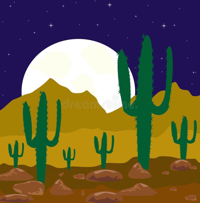 De nacht van de maan in woestijn vector illustratie