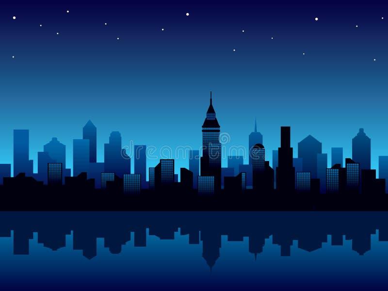 De nacht van de stad vector illustratie
