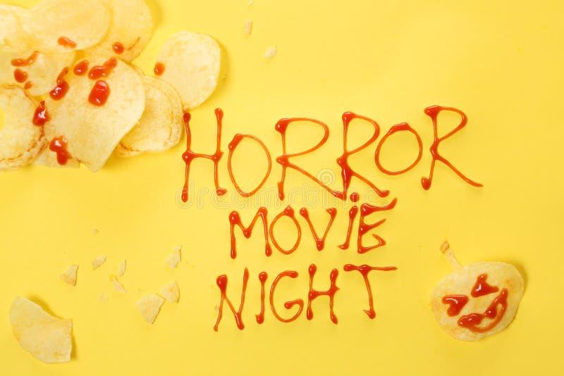 De nacht van de verschrikkingsfilm royalty-vrije stock afbeeldingen