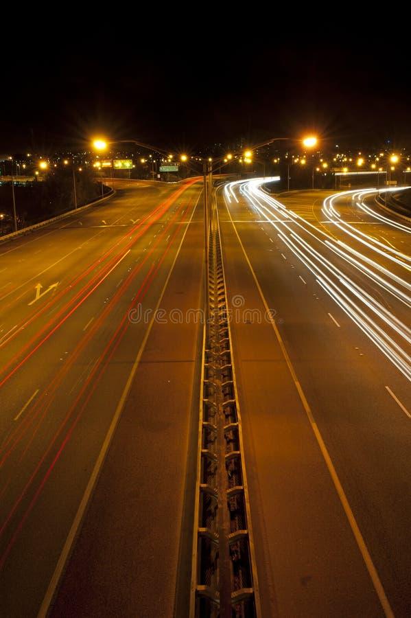 De Nacht van de Weg van de stad stock afbeeldingen