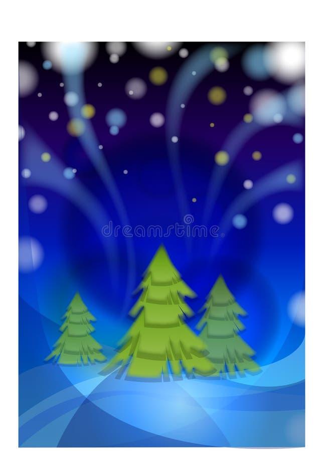 De nacht van de winter vóór Kerstmis royalty-vrije illustratie
