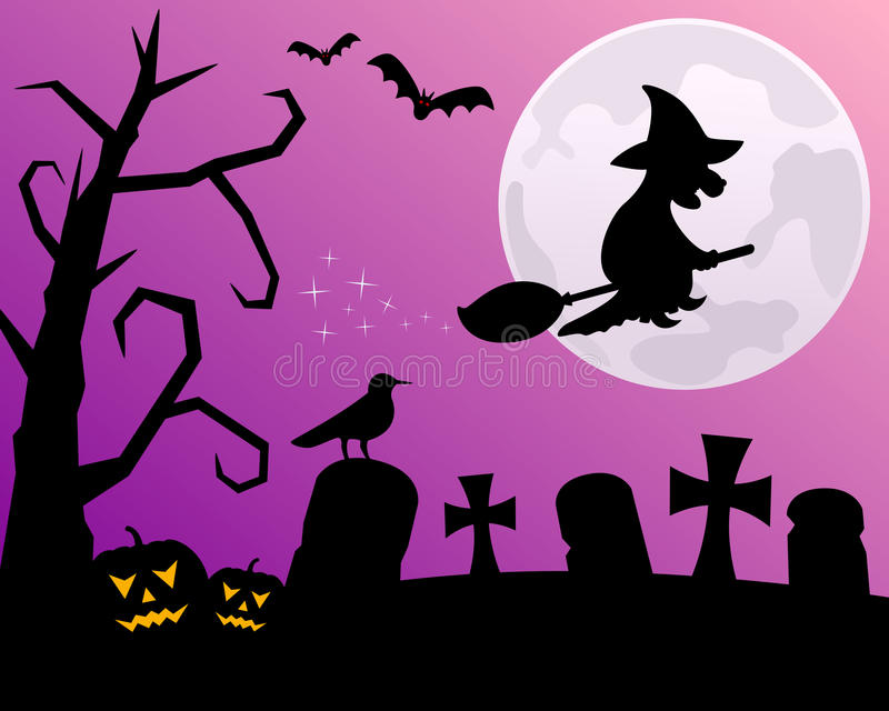 De Nacht van Halloween met Heks royalty-vrije illustratie