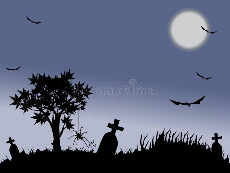 De nacht van Halloween met volle maan stock illustratie