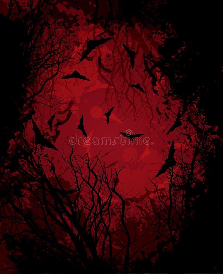 De nacht van Halloween rode illustratie als achtergrond stock illustratie