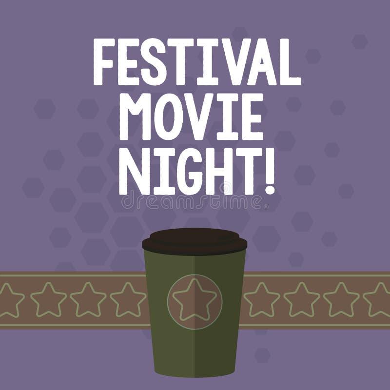 De Nacht van de het Festivalfilm van de handschrifttekst Concept die analysisy vriendenbijeenkomst betekenen om films samen op 3D vector illustratie