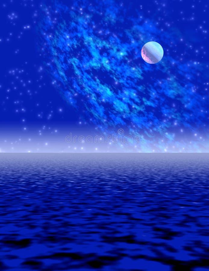 De nacht van het maanlicht royalty-vrije illustratie