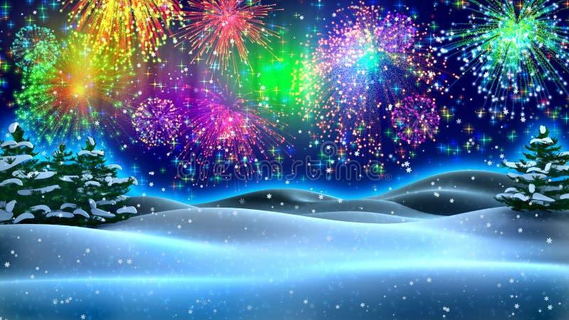 De nacht van het nieuwjaar stock illustratie