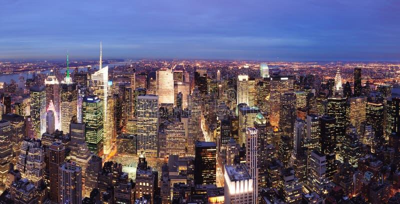 De nacht van het Times Square van Manhattan van de Stad van New York royalty-vrije stock afbeeldingen