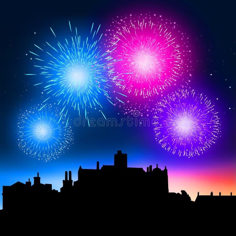 De Nacht van het vuurwerk vector illustratie