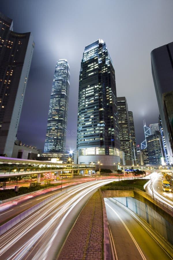 De nacht van Hongkong royalty-vrije stock afbeeldingen