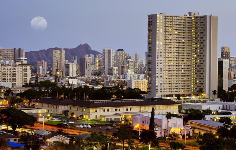 De nacht van Honolulu royalty-vrije stock foto
