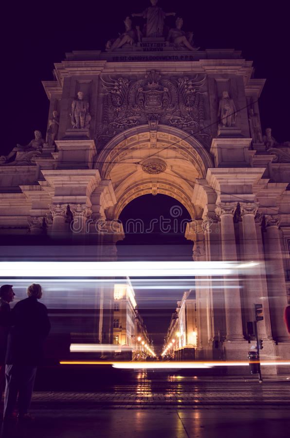 De nacht van Lissabon royalty-vrije stock foto