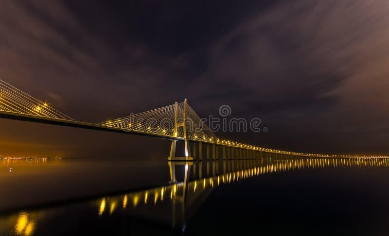 De nacht van Lissabon stock foto's