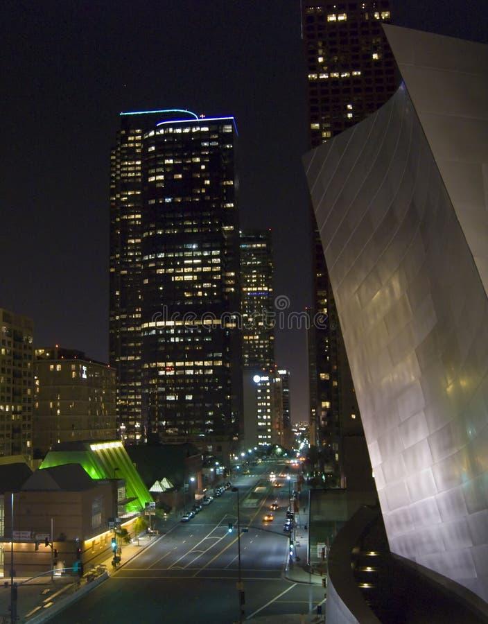 De nacht van Los Angeles Californië stock afbeeldingen