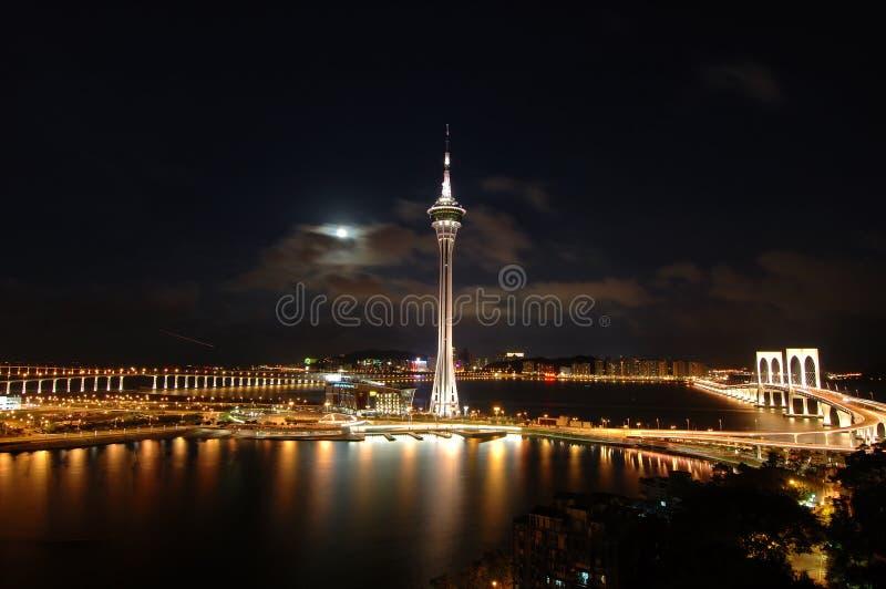 De nacht van Macao stock afbeeldingen