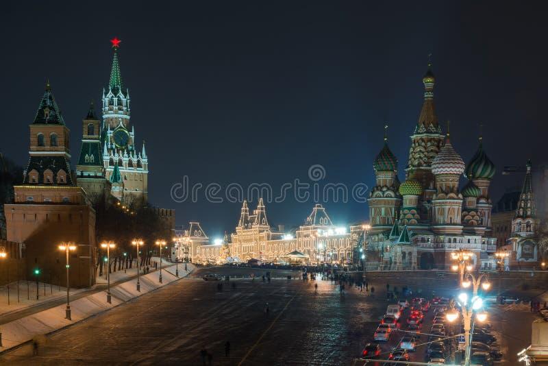 De nacht van Moskou het Kremlin royalty-vrije stock afbeeldingen