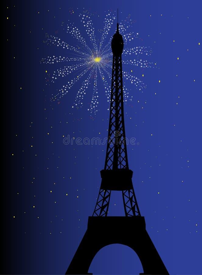 De nacht van Parijs stock illustratie