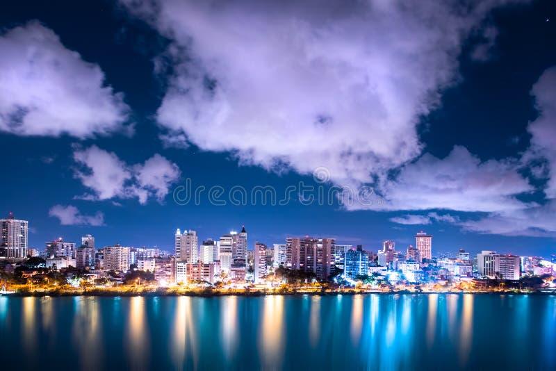 De Nacht van Puertorico condado beach san juan royalty-vrije stock fotografie