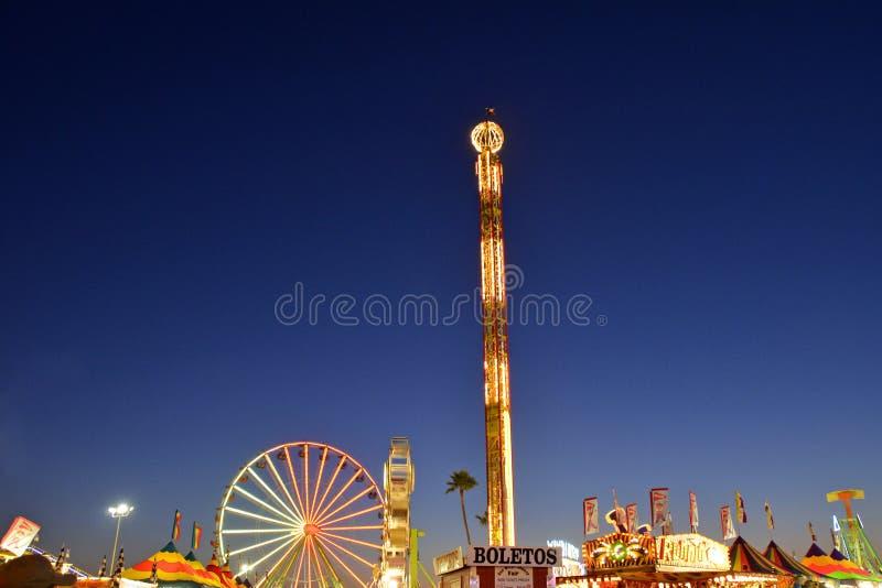 De Nacht van San Diego County Fair Scene At stock foto
