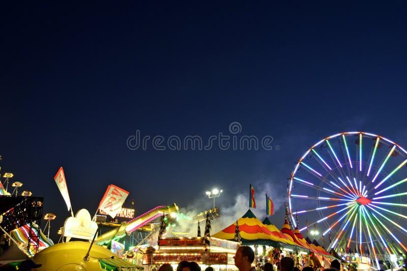 De Nacht van San Diego County Fair Scene At stock foto's