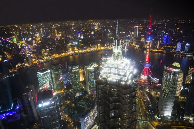 De Nacht van Shanghai royalty-vrije stock fotografie