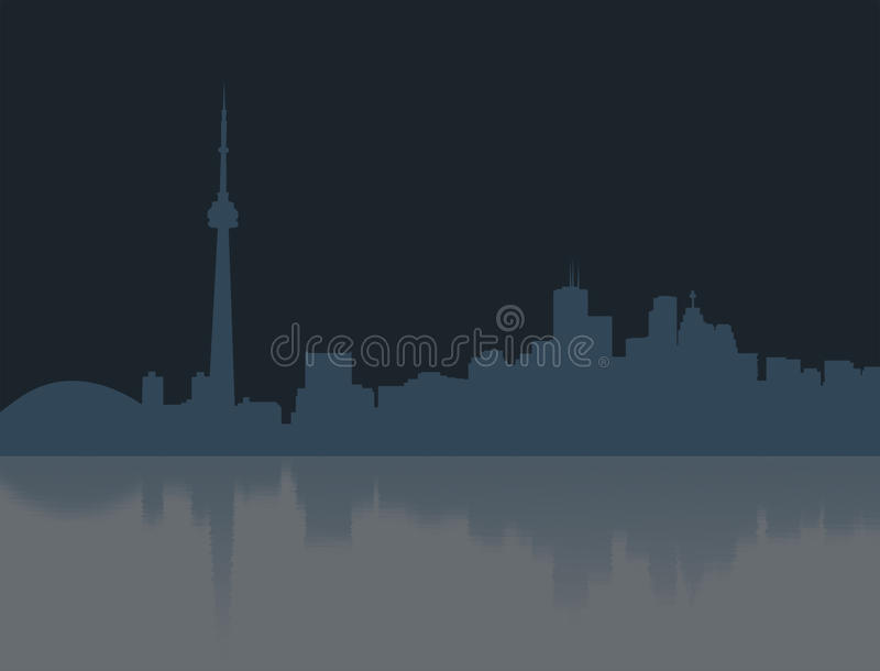 De nacht van Toronto over water stock illustratie