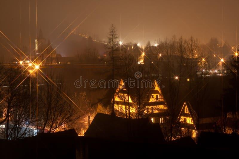 De nacht van Zakopane, Polen, Tatra royalty-vrije stock foto's