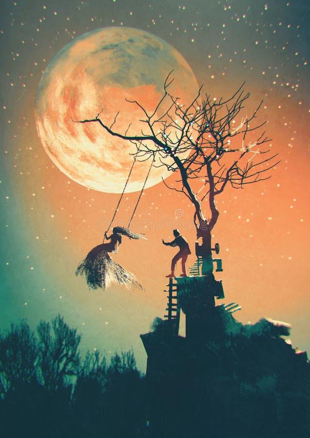 De nachtachtergrond van Halloween stock illustratie