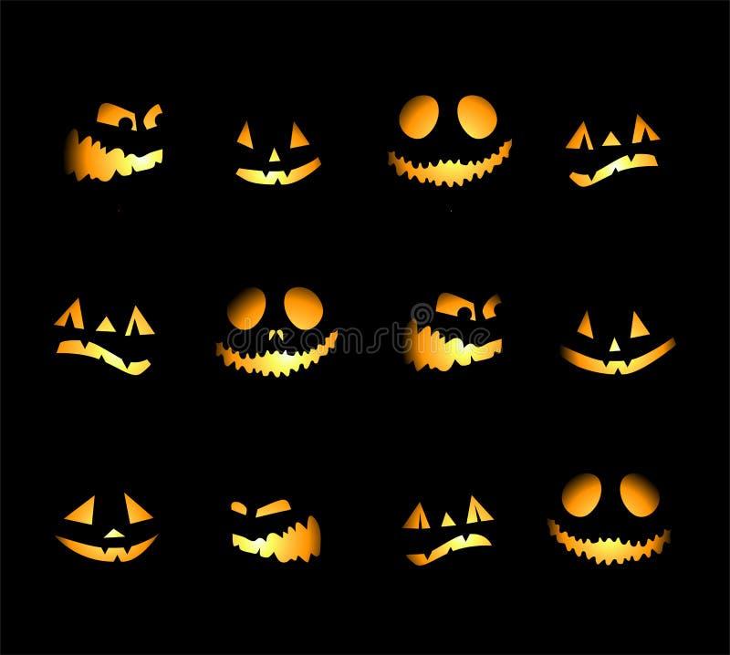 De nachtachtergrond van Halloween, pompoenen vector illustratie