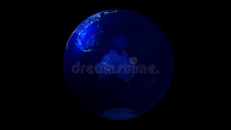De nachthelft van de Aarde van ruimte die Australië en Antarctica tonen vector illustratie