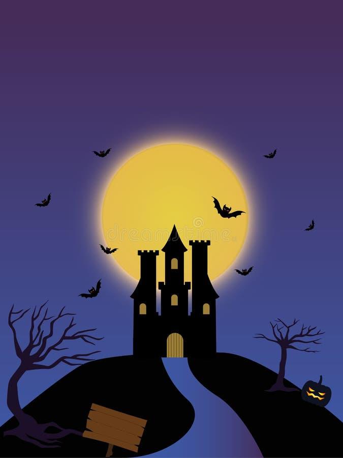 De nachtkasteel van volle maanhalloween royalty-vrije illustratie