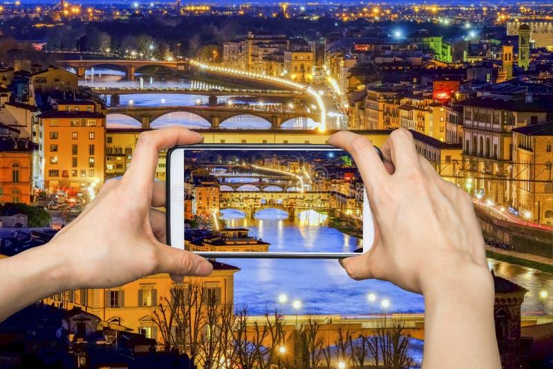 De nachtmening van Florence, Italië royalty-vrije stock afbeelding