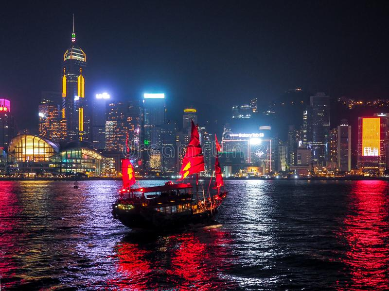 De nachtmening van Hongkong stock foto's