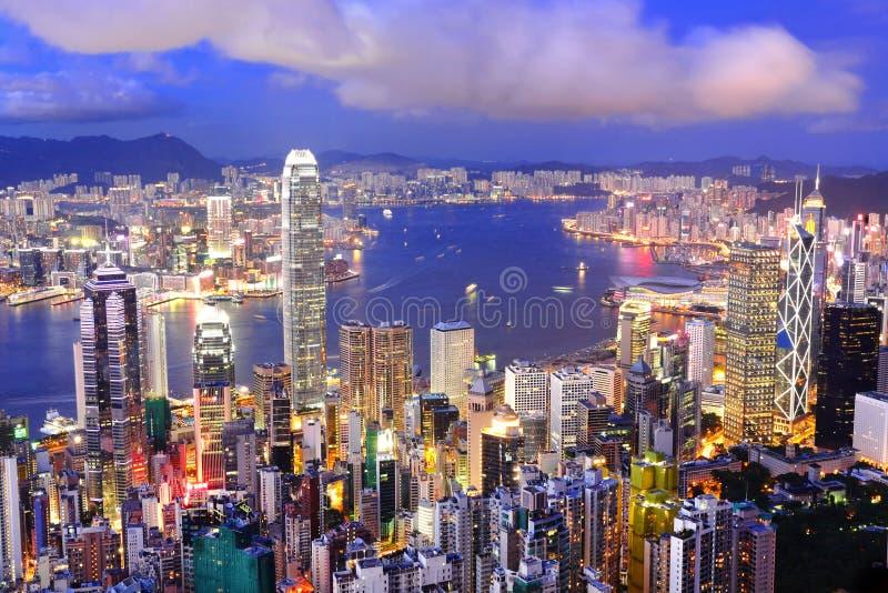 De nachtmening van Hongkong royalty-vrije stock afbeeldingen
