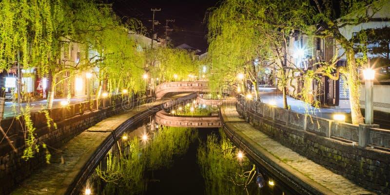 De Nachtmening van Kinosakionsen van Kinosaki Onsen in Toyooka, Hyogo, Japan stock afbeelding