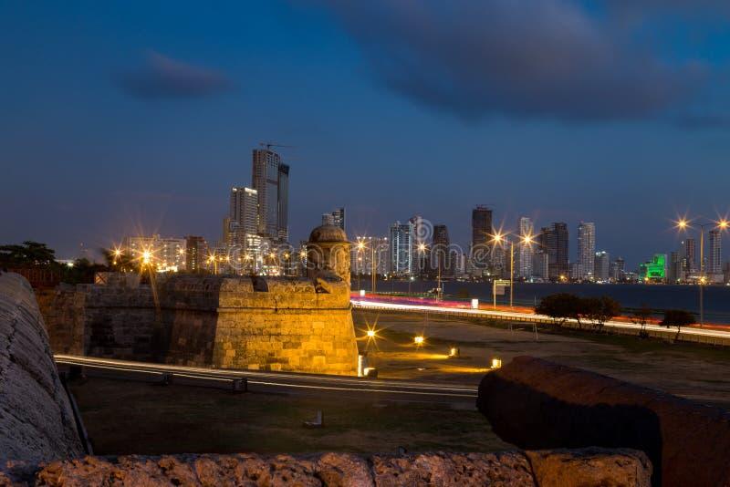 De nachtscène van Cartagena royalty-vrije stock foto
