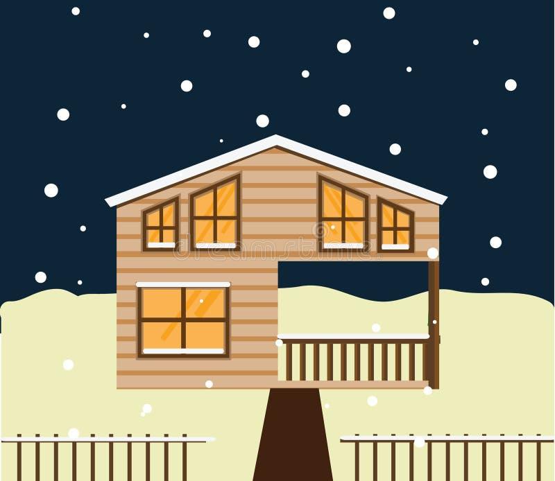 De nachtscène van de onroerende goederenwinter Huis, plattelandshuisje, huis in de stad, zoet huis royalty-vrije illustratie