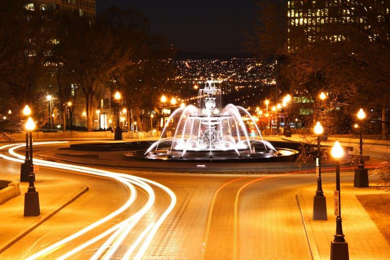 De nachtscène van de Stad van Quebec stock fotografie