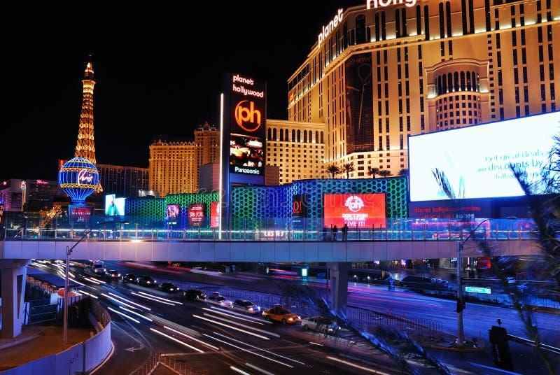 De nachtscène van de Straat van Vegas van Las royalty-vrije stock foto