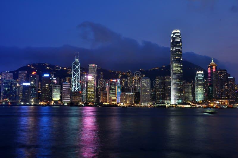 De nachtscène van Hongkong royalty-vrije stock afbeelding