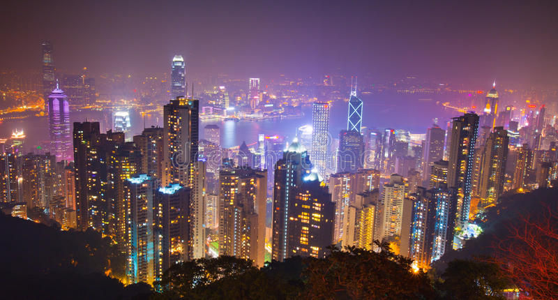 De nachtscène van Hongkong van de piek stock foto's