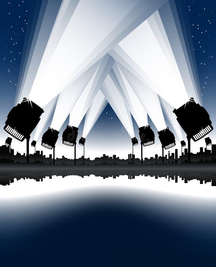De nachtschijnwerpers van de viering stock illustratie