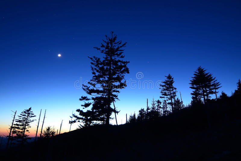 De Nachtsilhouet van Great Smoky Mountains TN stock foto